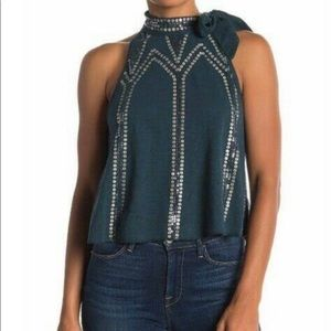 Free People Sequin Detail Shirt Sz M NWT